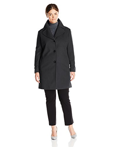 (Larry Levine Women's Plus-Size Classic Single Breasted Notch Collar Wool Coat, Charcoal, 1X)