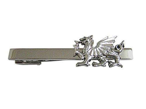 Silver Toned Textured Welsh Dragon Square Tie Clip by Kiola Designs