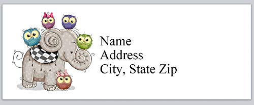 120 Personalized Return Address Labels Lovable Owls Around Elephant (bx 948)