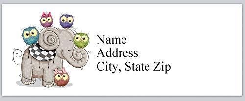 150 Personalized Return Address Labels Lovable Owls Around Elephant (bx 948)