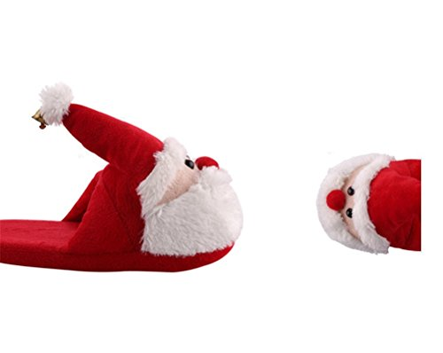 WHENOW Childrens/Kids/Adult 3D Christmas Novelty Slippers,Womens Indoor Warm Slippers, Slip-On Shoes Red