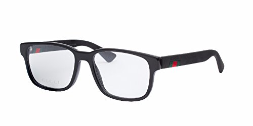 Gucci GG 0011O 001 Black Plastic Square Eyeglasses - Gucci Mens Eyewear