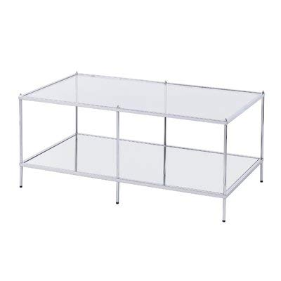 (Metal Coffee Table with Glass Top - Rectangular Coffee Table with 1 Shelf - Chrome)