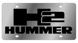 Stainless Steel License Plate- H2 HUMMER L/W Black Logo, Black Word