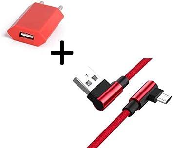 Pack para Motorola Moto G5 Smartphone Micro USB Cable 90 DEGRES Carga Rápida + Enchufe Color (Rojo): Amazon.es: Electrónica