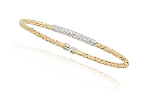 SilverLuxe 18Kt Gold Over Sterling Silver Weave Cuff Bracelet with CZ Bar