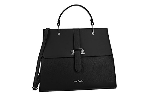 Bolsa mujer de mano bandolera PIERRE CARDIN negro cuero Made in Italy VN2530