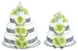 CutieBeauty Bloomers Green Daisies With Zebra Diaper Cake-2 Tier