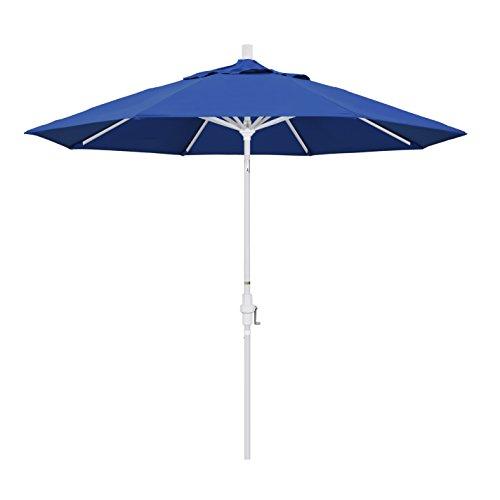 California Umbrella 9' Round Aluminum Market Umbrella, Crank Lift, Collar Tilt, White Pole, Pacifica Pacific Blue
