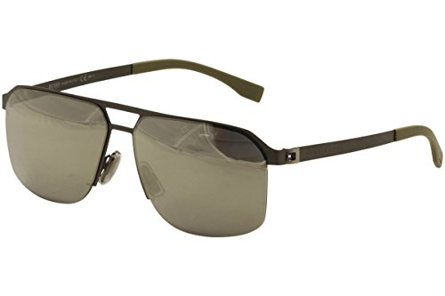 BOSS by Hugo Boss Men's B0839s Rectangular Sunglasses, Semi Matte Dark Ruthenium/ Gray Siver Mirror, 61 mm