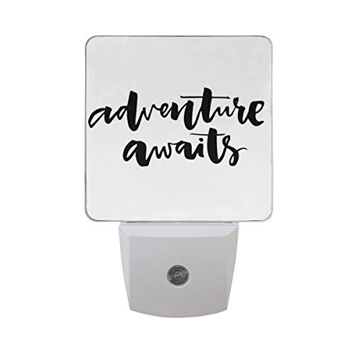 (Colorful Plug in Night,Inspirational Quote About Life and Travel Adventure Never Stops Journey Theme,Auto Sensor LED Dusk to Dawn Night Light Plug in Indoor for Childs)