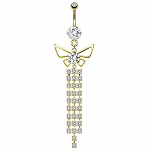 Butterfly Chandelier Freedom Fashion 316L S. Steel Gold Plated Navel Ring (Butterfly Gold 14kt Belly Ring)