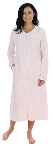- Sleepyheads Women's Long Sleeve Zip Front Long Robe Housecoat Light Pink (SH1446-4052-MED)
