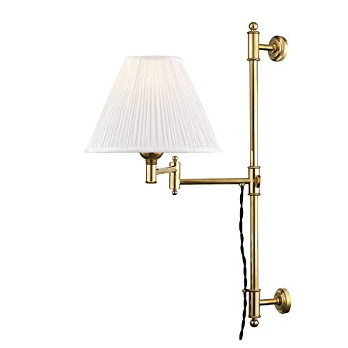 Classic No.1 Aged Brass Plug-in Swing Arm Wall Lamp ()