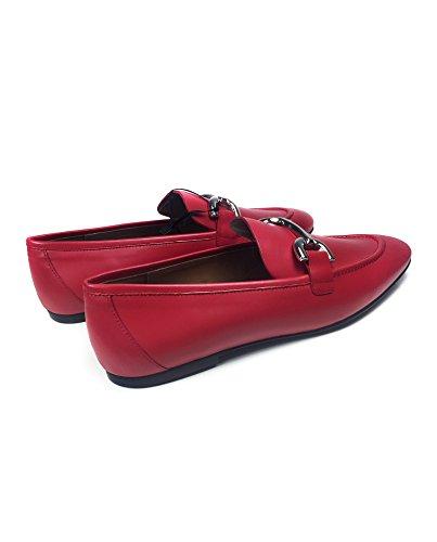Uterque - Mocasines de Piel para mujer Rojo rojo, color Rojo, talla 39 EU | 8 US | 6 UK: Amazon.es: Zapatos y complementos