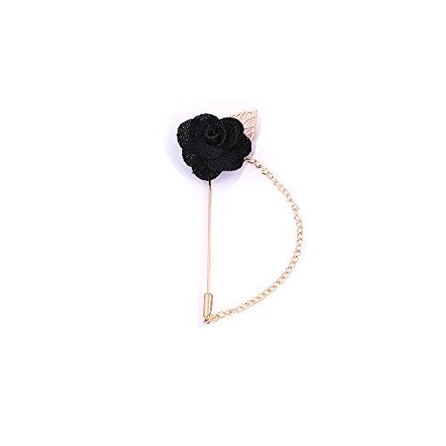 (Gold Leaf Tassel Roses Flower Chain Brooch Pin for Men Women Wedding Jewellry)