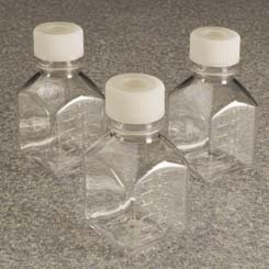 Septum Closure - NALGE NUNC INTERNATIONAL 342023-0125 Square PTFE Media Bottle with 38-430 mm Septum Closure, Sterile, 125 mL Capacity, Transparent, 2.13