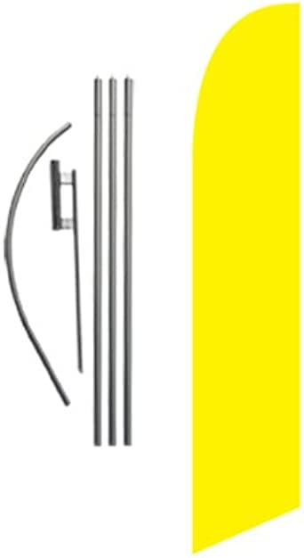 Welcome yellow 15/' Feather Banner Swooper Flag Kit with pole+spike