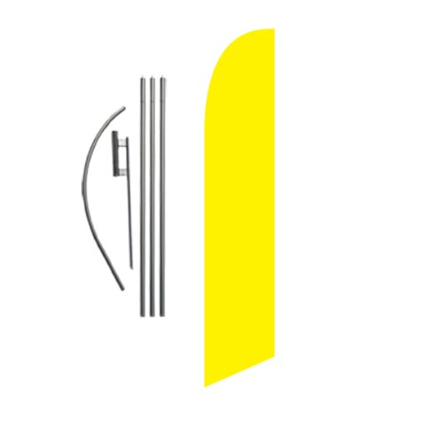 Solid Yellow 15ft Feather Banner Swooper Flag Kit - INCLUDES 15FT POLE KIT w/ GROUND SPIKE -