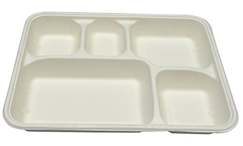 Ezee 5 Compartment Bagasse Food Tray   10 Pieces