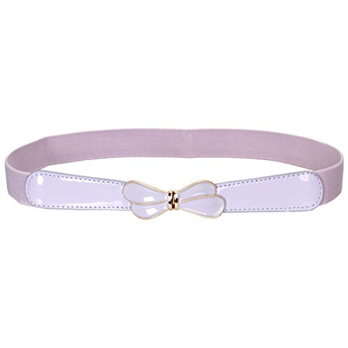 BMC High Waist Skinny Elastic Light Purple Butterfly Wings Design Locking Buckle Fashion (Butterfly Purple Belt Buckle)