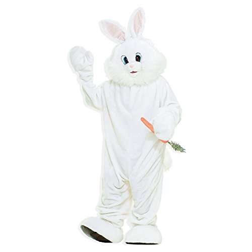 Deluxe White Jumpsuit Costumes (Forum Deluxe Plush Bunny Rabbit Mascot Costume, White, One Size)