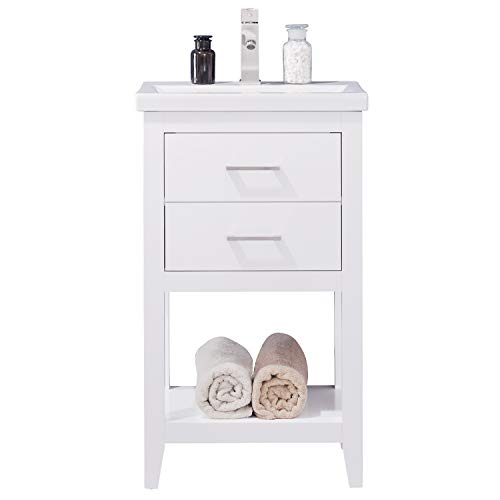 """LC20FWP Dublin 20"""" Bathroom Vanity Set in White Made with Hardwood and Integrated Porcelain Top"""