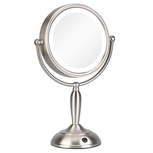 KEDSUM 8 Inch 1X/10X LED Lighted Makeup Mirror with 3 Lighting Modes, Double Sided Vanity Mirror with Lights, Cordless Tabletop Mirror, Touch Button & Dual Power Supply, 360°Rotation