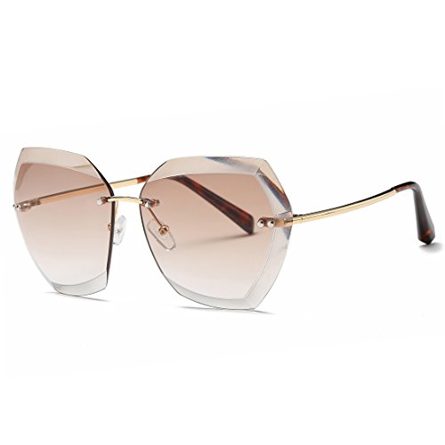 AEVOGUE Sunglasses For Women Oversized Rimless Diamond Cutting Lens Sun Glasses AE0534 (Gold&Brown, - Oversized Glasses Sun