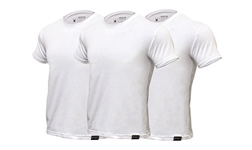 Crew Mens Clothing - Spyder Mens Undershirts/Ultra Soft Pro-Cotton Crew Neck T-Shirts(White, Large)