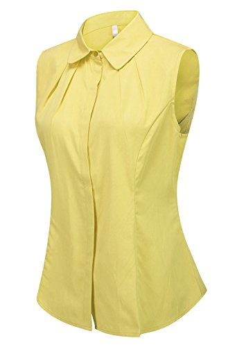 Double Plus Open Women's Cotton Sleeveless Button Down Shirt Collared Pleated Blouse Yellow ()