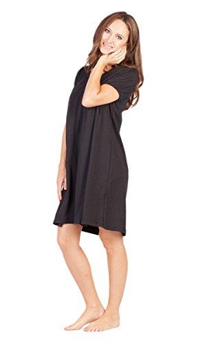 (Savi Mom Nursing Nightgown with Nursing Slits M Black )