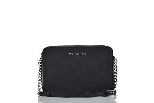 Michael Kors Women's Jet Set Item Crossbody Bag (black/silver)