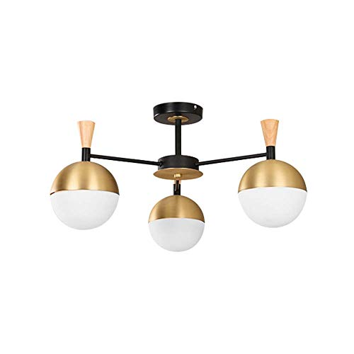 ForeverLighting,FL-62382,Industrial 3 Lights Globe-Shaped Pendant Lighting with Half Embedded LED Wood Base Chandeliers with Bulb for Indoor Home