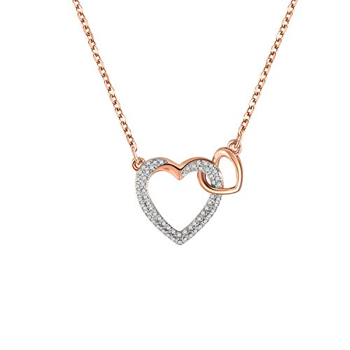 THEHORAE Double Heart Pendant Necklace, Crystals from Swarovski, Rose Gold Plated, Valentine's Gift for Women Girls (Heart Crystal Designer Double)