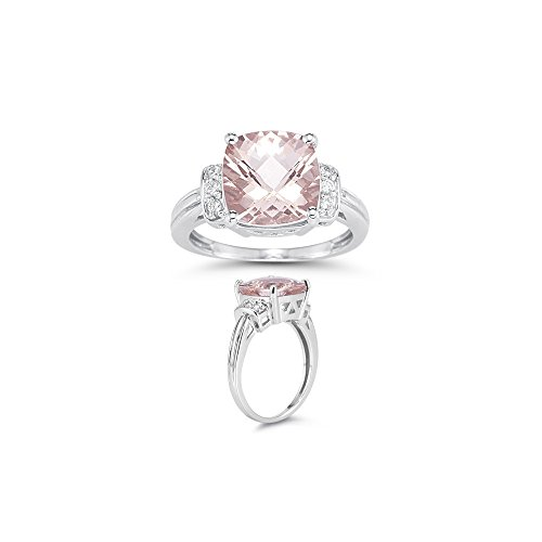 - 0.09 Cts Diamond & 3.66 Cts of 10 mm AAA Morganite Ring in 14K White Gold-9.5