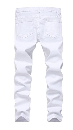 0a69dd2beb0 FREDD MARSHALL Boy s White Skinny Fit Ripped Destroyed Distressed Stretch  Slim Jeans Pants