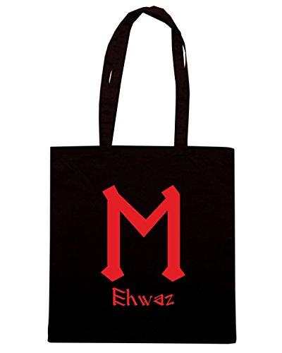 T-Shirtshock - Bolsa para la compra T0308 ehwaz religioni celtic Negro