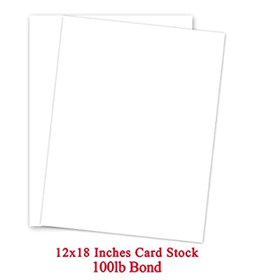 White Card Stock Paper - 12 x 18- Heavyweight 100lb Cover (270gsm) - 50 Pk