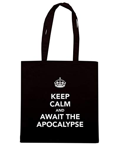 KEEP Shirt Speed APOCALYPSE CALM AND AWAIT TKC0380 Nera Borsa THE Shopper 1pHpXq