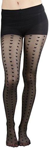 (ToBeInStyle Women's Heart Columns Sheer Spandex Pantyhose - BLACK)
