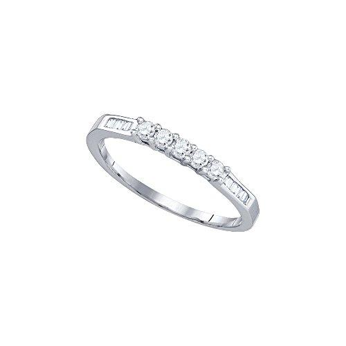 14k White Gold Round 5 stone Baguette Diamond Bridal Wedding Anniversary Band (1/4 Cttw)