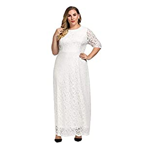 Chicwe Women's Plus Size Stretch Lace Maxi Dress – Evening Wedding Cocktail Party Dress