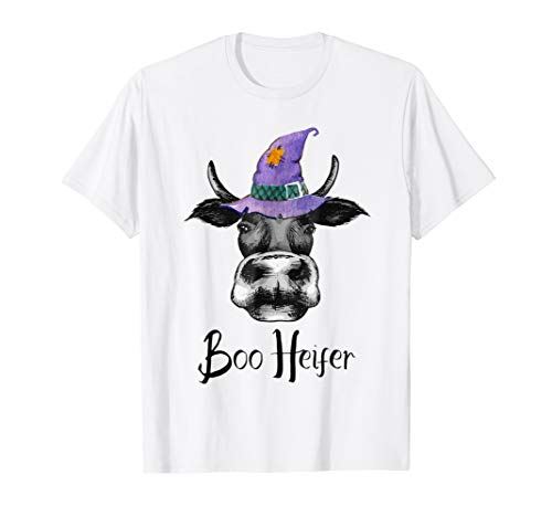 Cute Halloween Cow Witch Hat Boo Heifer Funny T-Shirt