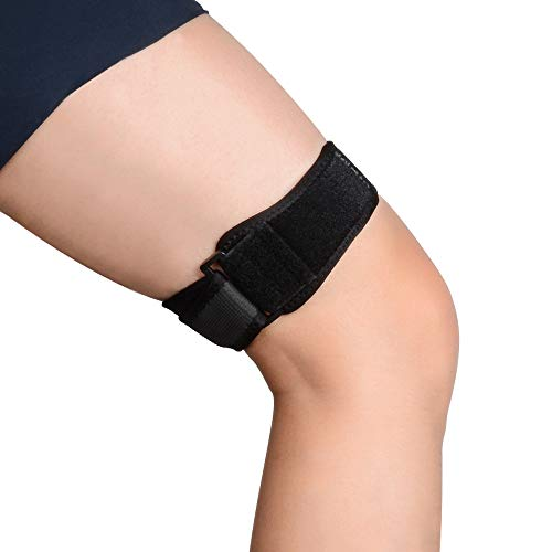 SupreGear IT Band Strap for Knee, Adjustable Comfortable Iliotibial Band Wrap Breathable ITB Strap for Iliotibial Band Syndrome (Black)