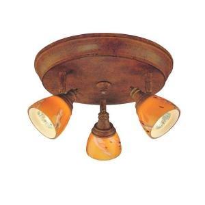 Art Glass Ceiling Light (3 Light Ceiling Fixture Walnut with Art Glass Shades EC4882WAL)