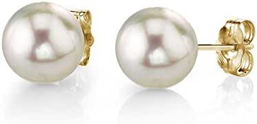 18K Gold White Akoya Cultured Pearl Stud Earrings - AAA Quality