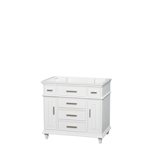 Wyndham Collection Berkeley 36 inch Single Bathroom Vanity in White with No Countertop, No Sink, No Mirror For Sale