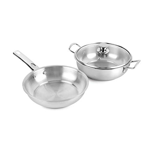 Cello-Steelox-Induction-Compatible-Stainless-Steel-Fry-Pan-Kadai-with-Glass-Lid-22-cm2Ltrs-3-pcs-Set