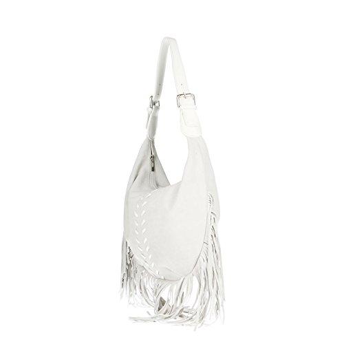 Cm Genuina Borse Blanco Piel Bolso Chicca 40x27x7 qgX0wq1